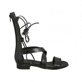 Zapato abierto estilo gladiador para mujer con cremallera y cordones en piel imprimida negra tacon 2 - Tallas disponibles:  33, 34, 42, 43, 44, 45