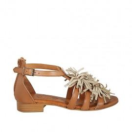 Zapato abierto para mujer con cremallera y cinturon en piel color cuero tacon 2 - Tallas disponibles:  33, 34, 42, 43, 44, 45