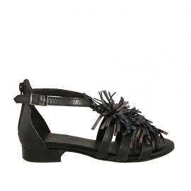 Zapato abierto para mujer con cinturon y cremallera en piel negra y gris tacon 2 - Tallas disponibles:  33, 34, 42, 43, 44, 45