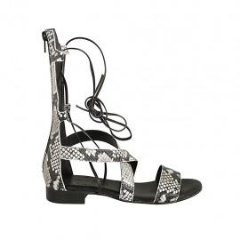 Zapato abierto estilo gladiador para mujer con cremallera y cordones en piel imprimida negra y beis tacon 2 - Tallas disponibles:  33, 34, 42, 43, 44