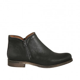 Woman's ankle boot with zippers in black pierced leather heel 3 - Available sizes:  33, 42, 43, 44, 45