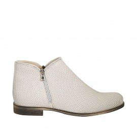 Woman's ankle boot with zippers in creme-colored pierced leather heel 3 - Available sizes:  42, 43, 44, 45