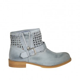 Woman's ankle boot with buckle and zipper in blue grey leather and pierced leather heel 3 - Available sizes:  33, 42, 43, 44