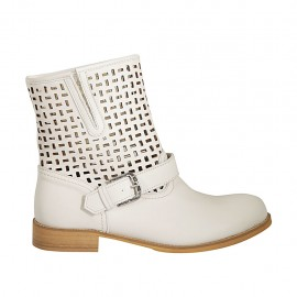 Woman's ankle boot with zipper and buckle in creme-colored leather and pierced leather heel 3 - Available sizes:  42, 43, 44, 45
