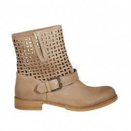 Woman's ankle boot with buckle in beige leather and pierced leather heel 3 - Available sizes:  42, 43, 44, 45