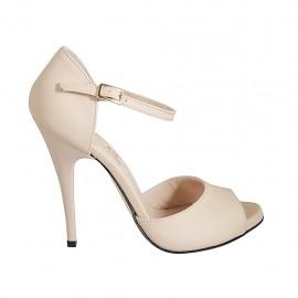 Chaussure ouverte pour femmes avec plateforme et courroie en cuir nue talon 11 - Pointures disponibles:  32, 33, 34, 42, 43, 44, 45, 46, 47