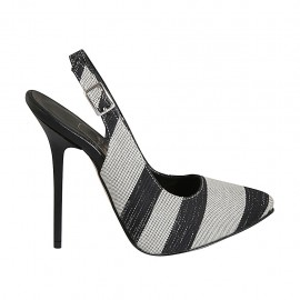 Woman's slingback pump with platform in black, white and silver laminated fabric heel 12 - Available sizes:  32, 33, 34, 42, 43, 44, 46, 47