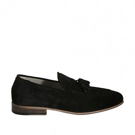 Men's loafer with tassels in black suede - Available sizes:  36, 37, 38, 46, 47, 48, 49, 50
