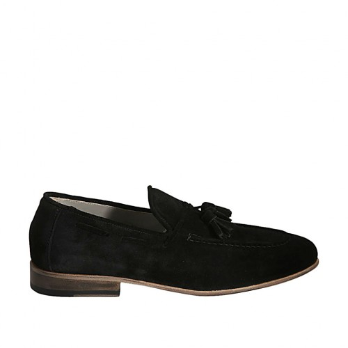 Men's loafer with tassels in black suede - Available sizes:  36, 37, 38, 46, 47, 48, 50