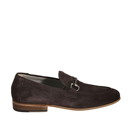 Men's loafer with accessory in brown suede - Available sizes:  36, 37, 38, 46, 47, 48