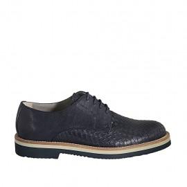 Chaussure à lacets pour hommes en cuir et cuir tressé bleu - Pointures disponibles:  37, 38, 46, 47, 48, 49, 50