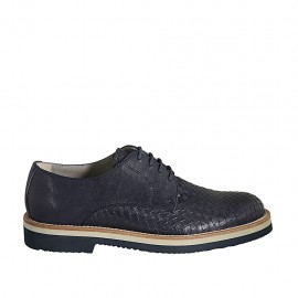 Men's laced derby shoe in blue leather and braided leather  - Available sizes:  37, 38, 46, 47, 48, 49, 50