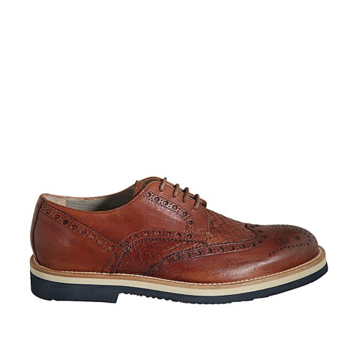 Men's laced derby shoe with Brogue decorations in tan-colored leather and braided leather - Available sizes:  37, 38, 46, 47, 48, 50