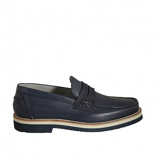 Men's loafer in blue leather and braided leather - Available sizes:  36, 37, 38, 46, 47, 48, 49, 50