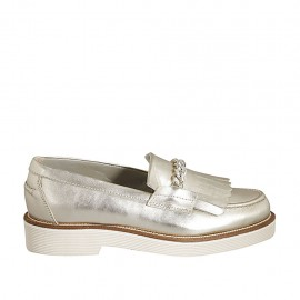 Woman's loafer with fringes and chain in platinum laminated leather heel 3 - Available sizes:  32, 33, 34, 42, 43, 44, 45, 46