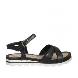 Sandale pour femmes en cuir noir avec courroie et talon compensé 2 - Pointures disponibles:  33, 34, 42, 43, 44, 45, 46, 47