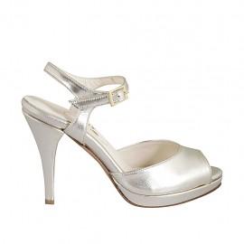 Sandale pour femmes avec courroie et plateforme en cuir lamé platine talon 9 - Pointures disponibles:  32, 33, 34, 42, 43, 44, 45, 46