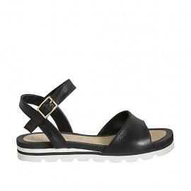 Sandale pour femmes avec courroie en cuir noir talon compensé 2 - Pointures disponibles:  33, 34, 42, 43, 44, 45, 46, 47