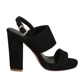 Sandale avec plateforme pour femmes en daim noir talon 10 - Pointures disponibles:  32, 33, 34, 42, 43, 44, 45, 46, 47