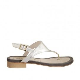 Sandale entredoigt pour femmes en cuir lamé platine talon 2 - Pointures disponibles:  33, 34, 42, 43, 44, 45, 46, 47