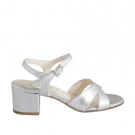 Sandale pour femmes en cuir lamé argent avec courroie talon 5 - Pointures disponibles:  32, 33, 34, 42, 43, 44, 45, 46