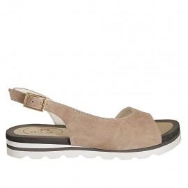Sandale pour femmes en daim beige sable talon compensé 2 - Pointures disponibles:  33, 34, 42, 43, 44, 45, 46, 47