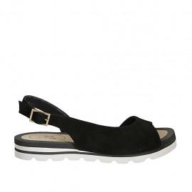 Sandale pour femmes en daim noir talon compensé 2 - Pointures disponibles:  33, 34, 42, 43, 44, 45, 46, 47