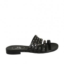 Damenzehenpantolette mit Nieten aus schwarzem Leder Absatz 1 - Verfügbare Größen:  33, 43, 44