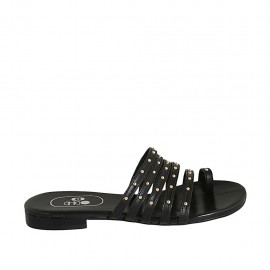Woman's thong mules with studs in black leather heel 1 - Available sizes:  33, 34, 42, 43, 44, 45