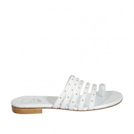 Woman's thong mules with studs in white leather heel 1 - Available sizes:  33, 34, 42, 43, 44, 45