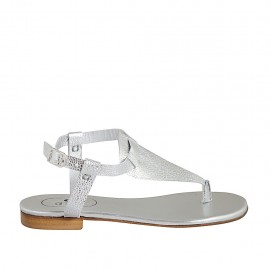 Sandale entredoigt pour femmes avec courroie en cuir imprimé lamé argent talon 1 - Pointures disponibles:  33, 34, 42, 43, 44, 45