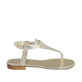 Sandale entredoigt pour femmes avec courroie en cuir imprimé lamé platine talon 1 - Pointures disponibles:  33, 34, 42, 43, 44, 45