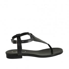 Sandale entredoigt pour femmes avec courroie en cuir noir talon 1 - Pointures disponibles:  33, 34, 42, 43, 44, 45