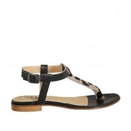 Sandale entredoigt pour femmes en cuir noir et tacheté talon 1 - Pointures disponibles:  33, 34, 42, 43, 44, 45