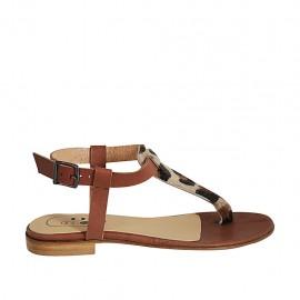 Sandale entredoigt pour femmes en cuir marron et tacheté talon 1 - Pointures disponibles:  33, 34, 42, 43, 44, 45