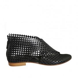 Chaussure ouverte pour femmes avec fermeture éclair en cuir perforé noir talon 1 - Pointures disponibles:  33, 34, 42, 43, 44, 45