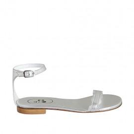 Chaussure ouverte pour femmes avec courroie en cuir lamé argent talon 1 - Pointures disponibles:  33, 34, 42, 43, 44, 45