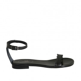 Chaussure ouverte pour femmes avec courroie en cuir noir talon 1 - Pointures disponibles:  33, 34, 42, 43, 44, 45