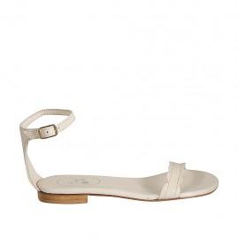 Chaussure ouverte pour femmes avec courroie en cuir beige talon 1 - Pointures disponibles:  33, 34, 42, 43, 44, 45