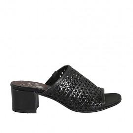 Damensandale mit Gummiband aus schwarzem geflochtenem Leder Absatz 4 - Verfügbare Größen:  33, 42, 43, 44