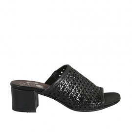 Woman's sandal with elastic band in braided black leather heel 4 - Available sizes:  32, 33, 34, 42, 43, 44, 45