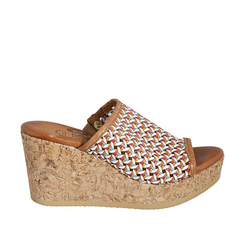 Woman's open mules in multicolored braided leather with platform and wedge heel 7 - Available sizes:  32, 33, 34, 42, 43, 44