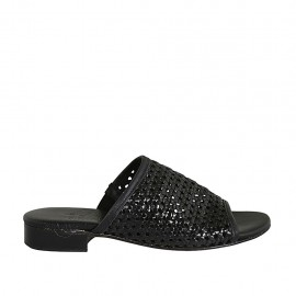 Woman's sandal with elastic band in braided black leather heel 2 - Available sizes:  32, 33, 34, 42, 43, 44, 45