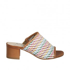 Woman's mules with elastic band in multicolored braided leather heel 4 - Available sizes:  32, 33, 34, 42, 43, 44, 45