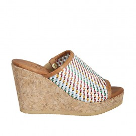 Woman's open mules in multicolored braided leather with platform and wedge heel 9 - Available sizes:  32, 33, 34, 42, 43, 44, 45