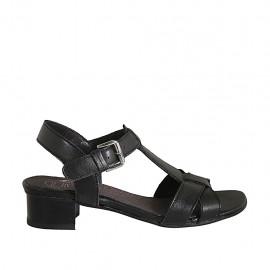 Sandale pour femmes avec courroie en cuir noir talon 3 - Pointures disponibles:  33, 34, 42, 43, 44, 45