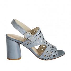 Sandale pour femmes en cuir perforé bleu gris talon 7 - Pointures disponibles:  32, 33, 34, 42, 43, 44, 45