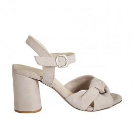Sandale pour femmes avec courroie et nœud en daim gris tourterelle talon 7 - Pointures disponibles:  32, 33, 34, 42, 43, 44, 45