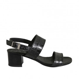 Sandale pour femmes en cuir imprimé noir talon 4 - Pointures disponibles:  32, 33, 34, 42, 43, 44, 45
