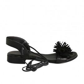 Sandale avec lacets pour femmes en cuir et daim noir talon 2 - Pointures disponibles:  33, 34, 42, 43, 44, 45